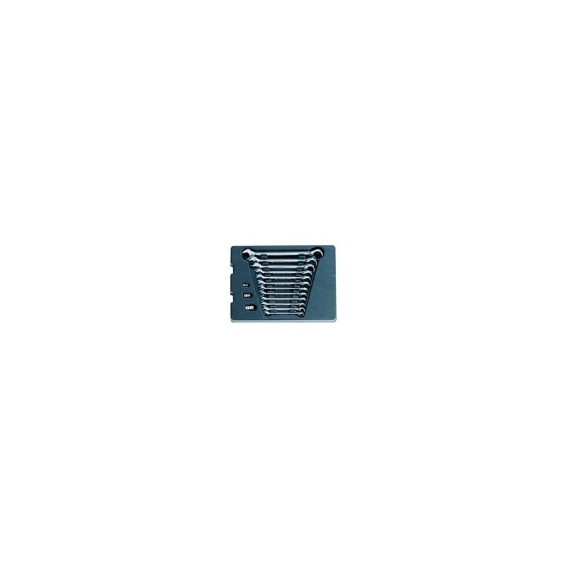 Thermoformé de clés mixtes à cliquet réversible - 15 pièces