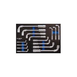 """Plateau EVAWAVE de de clés à pipe """"6x12 pans"""" - 15 pièces"""