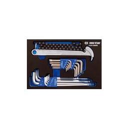 Plateau EVAWAVE de clés mâles 6 pans,, TORX et clé à filtre - 19 piè