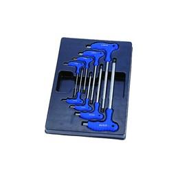 Thermoformé de clés mâles 6 pans à poignée en L - 8 pièces