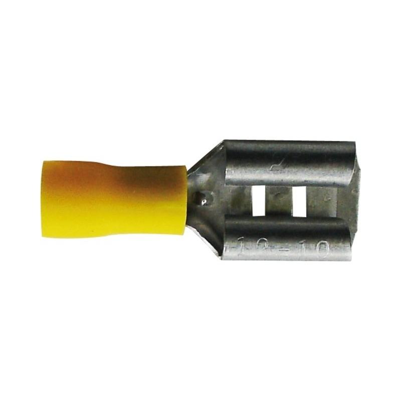 Cosses plates femelles 6.3mm jaune (boite de 17)