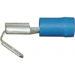 Cosses plates double male-femelle 6.3mm bleu (boite de 15)