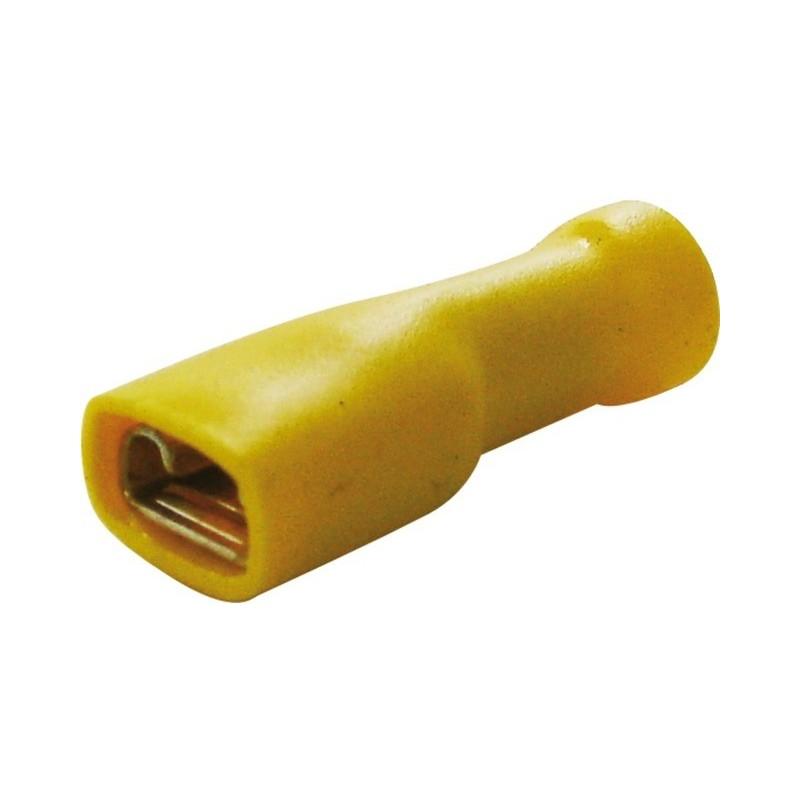 Cosses plates femelles isolées 6.3mm jaune (boite de 13)