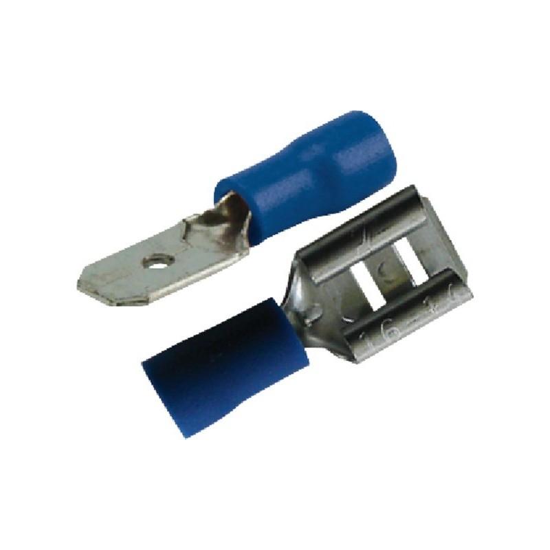 Assortiment de cosse plate mâle / femelle isolée 6.3mm bleu (boite de 20)