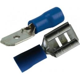 Assortiment de cosse plate mâle / femelle 6.3mm bleu (boite de 22)