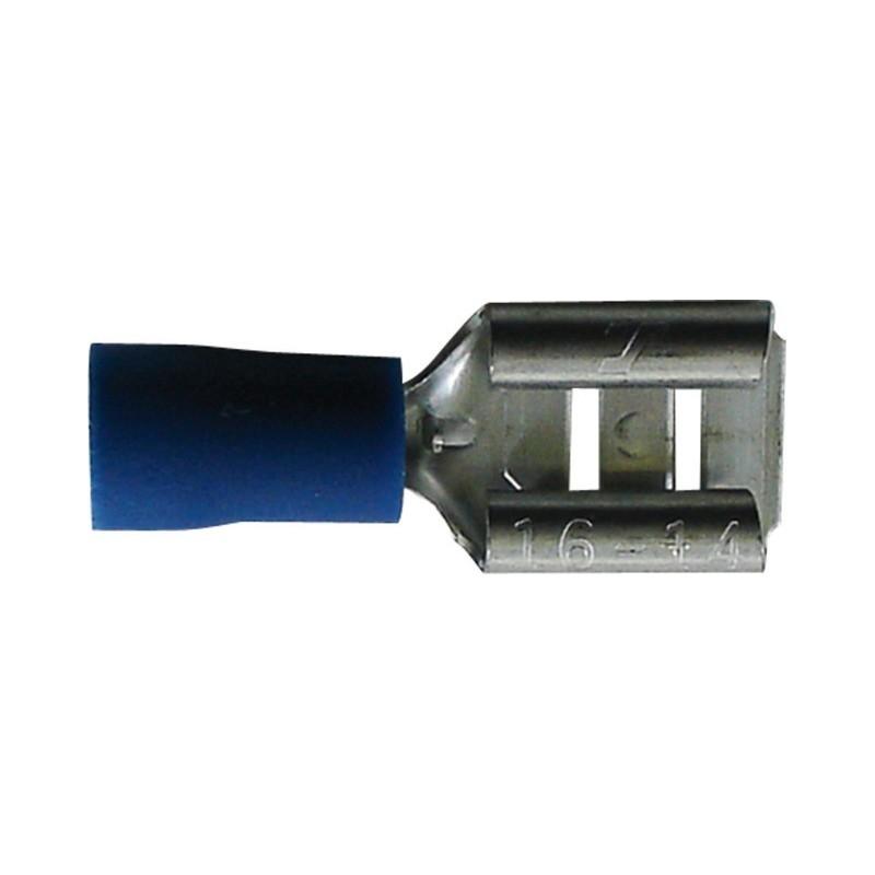 Sachet 100 cosses plates 6.3mm femelle bleu