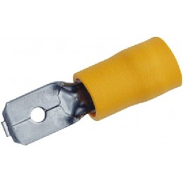 Sachet 100 cosses plates 6.3mm mâle jaune