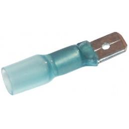 Cosses retractables embout plat 6.35mm bleu mâle (sac de 50)