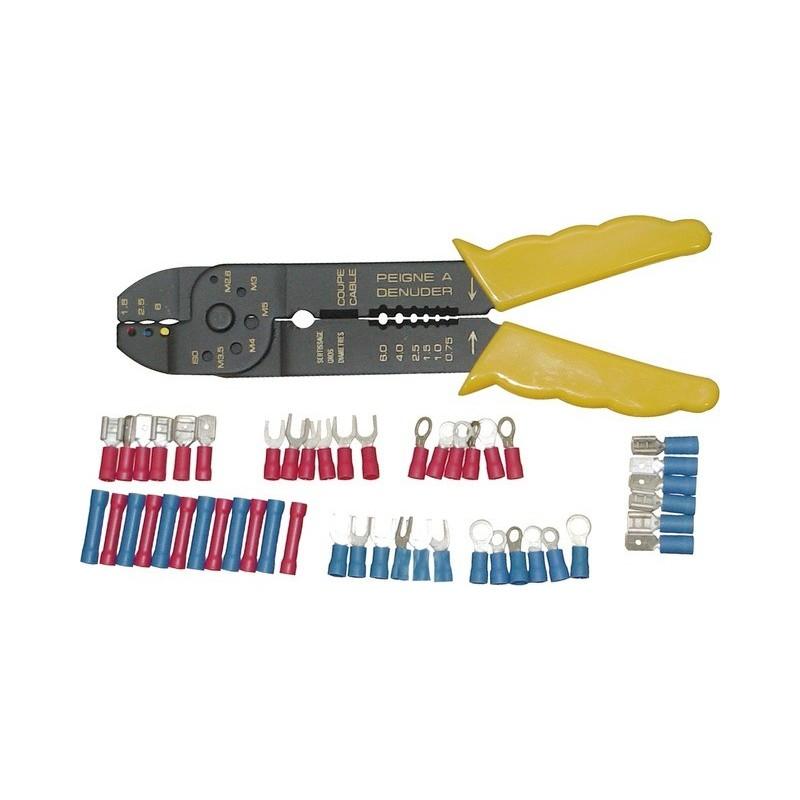 Coffret pince à sertir cosse + 270 cosses électrique