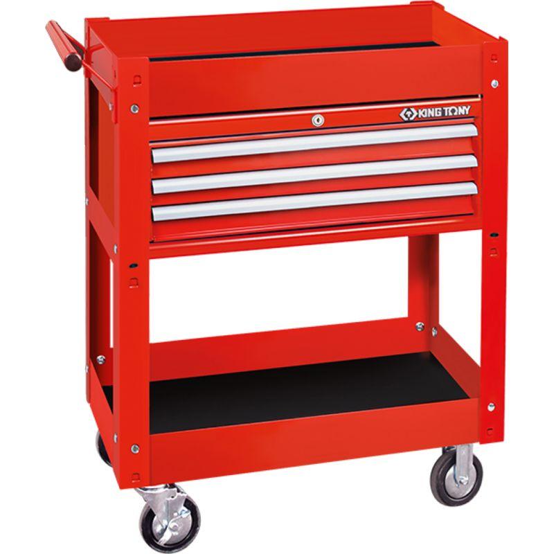 Chariot d'atelier 2 étages avec coffre 3 tiroirs 874413B KingTony