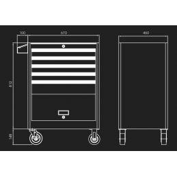 Servante d'atelier STRENGTH - 5 tiroirs avec soute 874325B KingTony