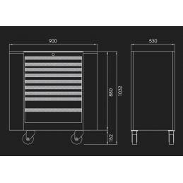 Servante d'atelier avec portes latérales - 9 tiroirs 87A389BAUS 87A389BAUS